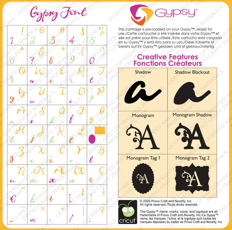 Gypsy Font Sample Chart