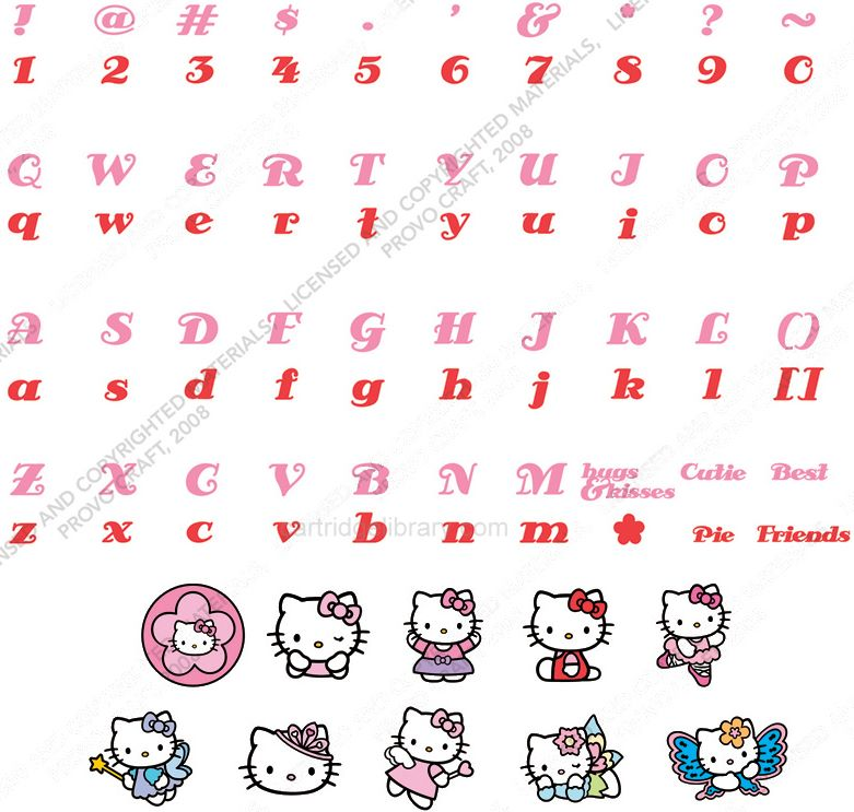 (Hello Kitty Font Cricut Cartridge). font list cuts chinese art